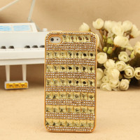 iPhone 4S 4G 3GS iPod Touch Shiny Crystals Golden Protective Hard Case