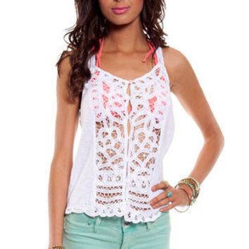 Loopy Button Down Tank Top in White :: tobi