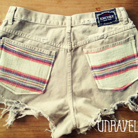 Extra High Waist Shorts Ethnic Tribal Pockets by UnraveledClothing