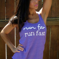 Run Far Run Fast  Flowy EcoHeather by FiredaughterClothing on Etsy