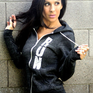 RUN EcoFleece Light Black Hoodie Unisex by FiredaughterClothing