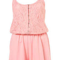 Baby Pink Lace Playsuit - Playsuits  - Clothing  - Topshop