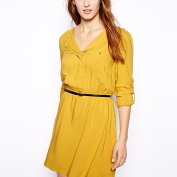 Oasis Exclusive Shirt Dress - yellow