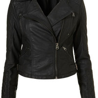 Quilted Panel Biker - Topshop