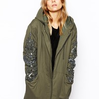 ASOS Cocoon Parka with Embellished Sleeve
