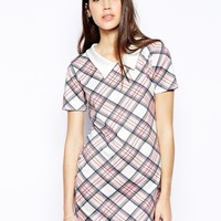 AX Paris Shift Dress with Collar in Check Print