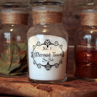 Tall Single Apothecary themed Glass Spice jar