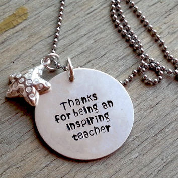 Gift For Teacher, Teacher Retirement Gift, Personalized Teacher Gift, Teacher Necklace, Retirement Gift