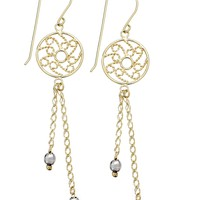 14k Yellow and White Gold Earrings, Two-Tone Round Filigree Chain Drop Earrings