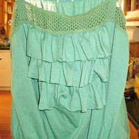 Green Tank Top Ruffles and Elastic Waist by Peaceloveandclothes