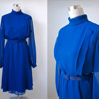 Feminette Models London - Dark Cobalt Blue Chiffon Dress - 70's Vintage Dress