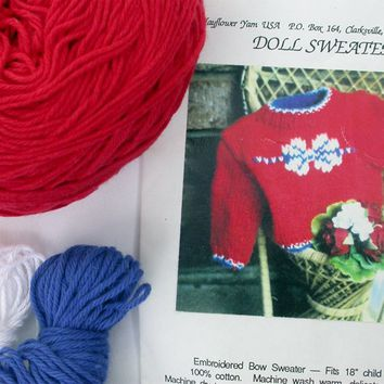 "Knit Sweater Kit for 18"" Doll, Teddy Bear, Yarn and Pattern, Red 