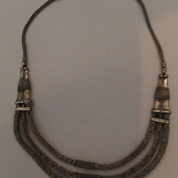 Vintage Silver Mesh Indian Persian Drape Necklace Jewelry