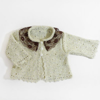 Knitted Baby Jacket - Pastel Yellow, 0 - 3 month