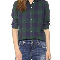 Large Square Plaid Easy Shirt
