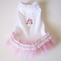 Dog Wedding Dress Tutu White with a little rose pink by miascloset