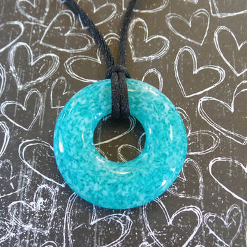 Turquoise Blue Glass Donut, Round Necklace, Fused Glass Jewelry - Karlee - 4719 -4
