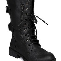 Nature Breeze AC21 Women Zipper Round Toe Military Lace Up Boot - Black PU