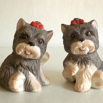 Homco dog figurines set of two terrier scottie dog scotty porcelain schnauzer vintage dogs w red bow gray