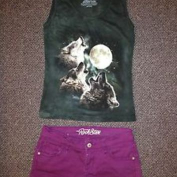 WOLF TANK TOP SHIRT WITH PURPLE SHORTS WOMENS OUTFIT SIZE LARGE SIZE 4 SO CUTE!!
