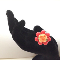 Polymer clay flower and glass pearl ring, coral and orange