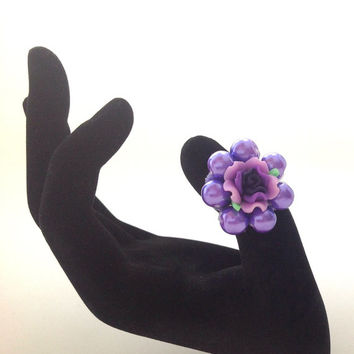 Purple polymer clay flower ring with glass pearls