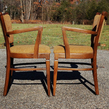 Mid Century Arm Chairs, Pair of Angled Arm Chairs with Tufted Tweed Upholstery, Art Deco Chair, Occasional Chair, Dining Chair