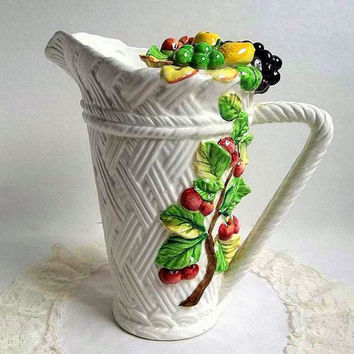 Vintage Lefton Tutti Fruit Pitcher, large basket weave white pitcher, molded fruit design. made in Japan