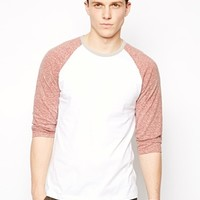 ASOS 3/4 Sleeve T-Shirt With Contrast Sleeves In Neppy Fabric