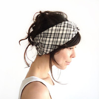 Tie Up Headscarf Black and White Checked by ChiChiDee on Etsy