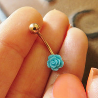 16 Gauge Turquoise Rose Golden Eyebrow Rook Jewelry Piercing Turquoise Earring Ear Bar Gold Tone Teal Aqua Electric Blue Barbell 16g G