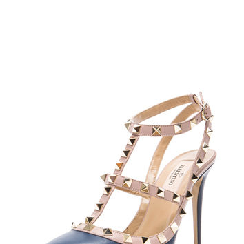 Rockstud Leather Slingbacks T.100 in Indigo