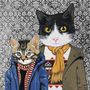 Family Portrait III  Cats In Clothes  Fine by HeatherMattoonArt