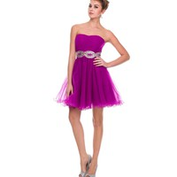 2014 Prom Dresses - Magenta Pleated Tulle & AB Stone Infinity Strapless Dress