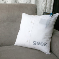 geek – hand embroidered upcycled shirt pillow cover » Craftori