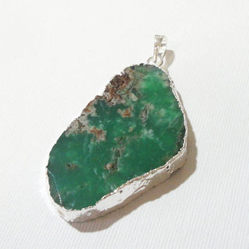Green Chrysoprase Flat Slice Pendant Dipped In Silver With Loop, Brown Mineral Chrysoprase  Pendant