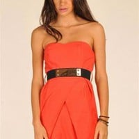 Coral Strapless Dress - Coral Strapless Mini Dress with | UsTrendy
