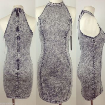 Grey Acid Wash Sleeveless Denim Dress Sizes S-M-L-XL