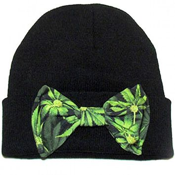 """Maryjane Bow"" Beanie by Marialia (Black)"