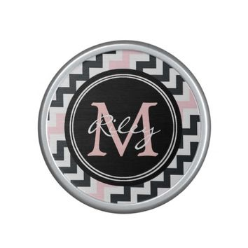 Pink Black Chevron Monogram Bluetooth Speaker