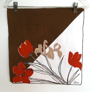 Set of 3 Vintage Vera Neumann / Brown and Dark Orange Floral Print / Cloth Napkins