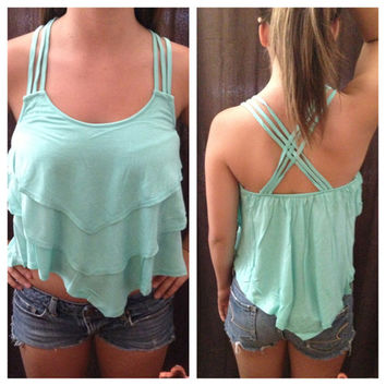 In Style Mint Crop Tier Top with Cross Strap Back