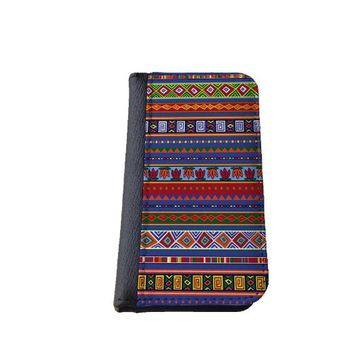 Colorful aztec iPhone 5C wallet case MADE IN USA - green blue pink purple (Blue)