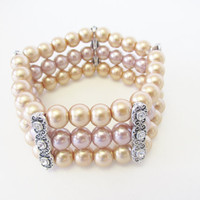 Stacked Pearl Bracelet - Glass Pearl Bracelet - Pink and Gold Bracelet - One Size Triple Strand Stretch Bracelet - Wedding Bridal Jewelry