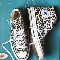 Free People Leopard Hi Top Chucks