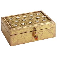 Gold Jewelry Box with Beads