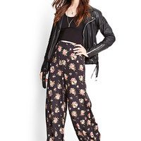 Rose Print Wide-Leg Trousers