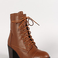 Bamboo Baxter-01 Round Toe Lace Up Bootie