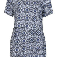 Tile Print Overlay Dress