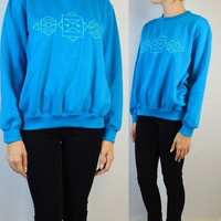 90s Symmetrical Geometric Sweatshirt Jumper Embroidered Soft Grunge Hipster Vintage womens Clothing Small Medium Slouchy Cute Turquoise Blue
